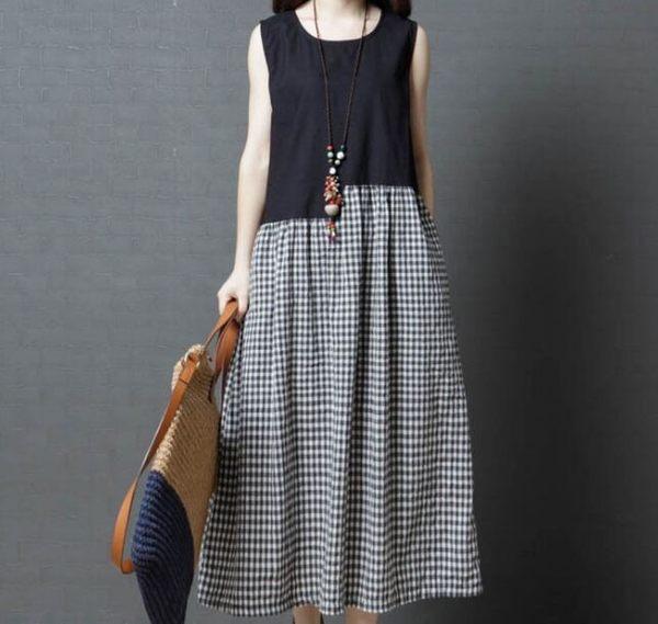 夏季新款圓領拼接不規則格子大擺棉麻背心連衣裙洋裝(五碼可選)