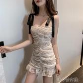 吊帶裙子女時尚韓版百搭綁帶蝴蝶結蕾絲包臀褶鄒緊身連 洛小仙女鞋