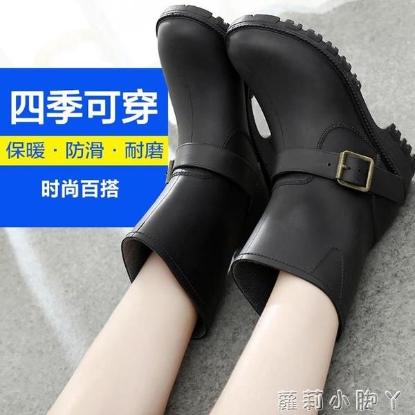 春秋2020成人雨鞋女士雨靴套鞋防滑水鞋女加絨中筒雨鞋女黑色保暖 蘿莉新品