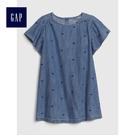 Gap女嬰幼童 愛心圖案圓領短袖牛仔洋裝 497284-深色水洗做舊