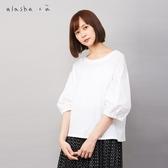 a la sha+a 簡約異材質拼接創意上衣