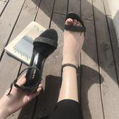 涼鞋女夏女鞋簡約一字扣細跟亮片時尚百搭夜店高跟鞋 檸檬衣捨