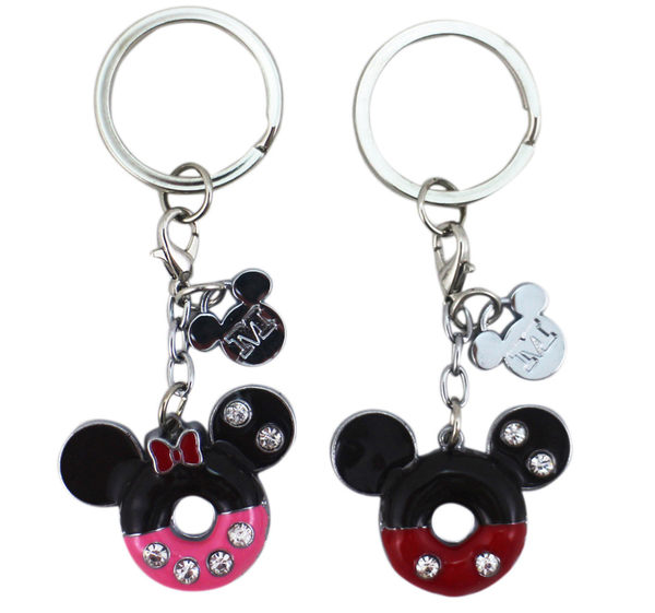 【卡漫城】 米奇米妮 點心 鑰匙圈 甜甜圈 兩入組 男女朋友 禮物 甜點 情侶 吊飾環 水鑽 Mickey Minnie