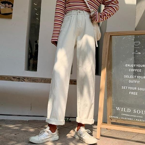寬鬆寬管褲女牛仔褲高腰顯瘦chic直筒褲春秋季2021年新款學生褲子 漫步雲端