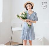 《DA7385-》春日清新格紋綁帶高含棉短袖洋裝 OB嚴選