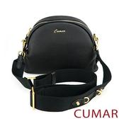【CUMAR女包】金屬釘飾寬背帶牛皮小包-黑