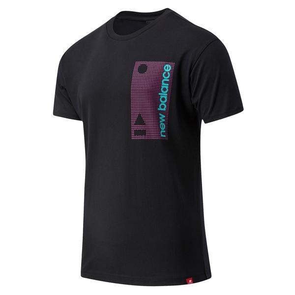 NEW BALANCE 短T 黑 紫格紋 蒂綠LOGO 短袖 休閒 上衣 男 (布魯克林) MT03553BK