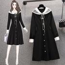 大碼長袖洋裝 禮服 連身裙L-4XL18119胖mm大碼時尚娃娃領收腰顯瘦長袖連身裙子4F093 胖妞衣櫥