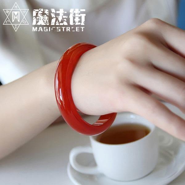 紅瑪瑙手鐲細窄條玉鐲招財玉髓鐲 魔法街