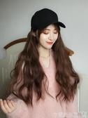假髮帽帶帽子假髮一體女 時尚蓬鬆玉米燙長捲髮 夏天可拆卸長髮自然