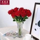 干花仿真玫瑰花套裝花束假花玫瑰花客廳餐桌擺件花藝插花干花擺設裝飾【父親節秒殺】