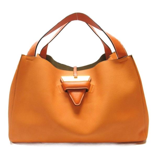 LOEWE 羅威 橘色牛皮肩背包 Barcelona Tote Bag【二手名牌BRAND OFF】