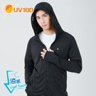 UV100 防曬 抗UV-涼感口罩連帽男...