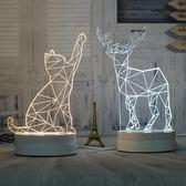 3D小夜燈插電床頭燈創意夢幻可愛比心台燈柔光臥室麋鹿正韓貓刻字【快速出货】
