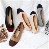 六月芬蘭方頭夏日針織透氣奶奶鞋拚色灰色粉色米色棕色黑色(35-40)現貨