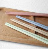 ♚MY COLOR♚環保小麥筷子組 餐具 家庭 無漆 旅行 無蠟 四雙 防滑 圓筷 上班族 一組四色 【Q169-1】