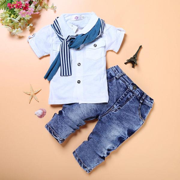 男童短袖T恤+牛仔長裤+圍巾三件套装- 預購