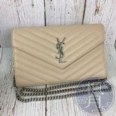 BRAND楓月 SAINT LAURENT YSL 377828 奶茶 魚子醬 WOC 荔枝皮 人字紋 鍊包 側背包