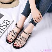 新款歐美黑色鉚釘羅馬平跟夾趾平底涼鞋女夏夾腳韓國百搭學生