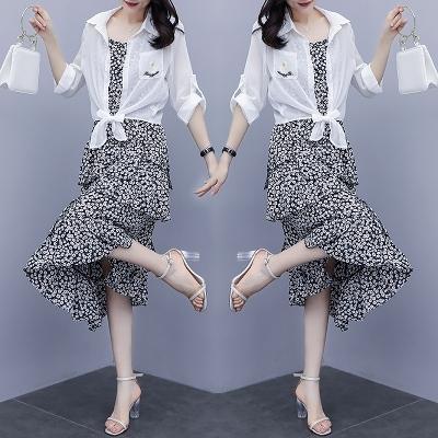 XL-5XL胖妹妹大碼洋裝~大碼女裝胖mm寬松顯瘦防曬衣連身裙兩件套4F088愛尚布衣