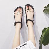 水晶涼鞋  女學生夏百搭韓版平底厚底一字帶時尚柳釘鞋 唯伊時尚