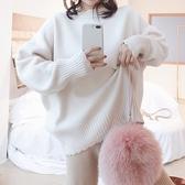 毛衣-兔毛花邊領純色加厚時尚女針織衫5色73uc14【巴黎精品】