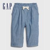 Gap嬰兒 舒適荷葉邊青年布休閒褲 616407-水洗藍