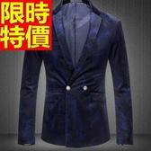 韓版 西裝外套 男西服 修身質感-金絲絨美式風帥氣品味65b42[巴黎精品]