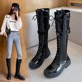 快速出貨 長靴不過膝騎士靴女秋季新款黑色英倫復古西部帥氣機車長筒瘦瘦靴