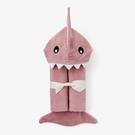 【美國Elegant Baby】動物造型連帽浴巾- 小鯊魚(藕粉)