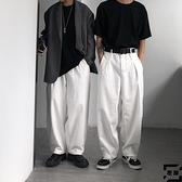 日系牛仔長褲高腰寬鬆復古慵懶休閒闊腿褲男女【左岸男裝】