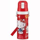 〔小禮堂〕Hello Kitty 超輕量彈蓋不鏽鋼保溫瓶附背帶《紅白.水彩筆》470ml.水壺.水瓶 4973307-47845