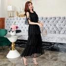 中大尺碼洋裝 M-3XL小禮服韓版蕾絲露肩蛋糕裙連衣裙 黑色 #gk9983 @卡樂@