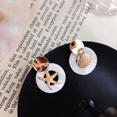 耳環 個性 鏤空 圓形 海星 貝殼 不對稱 氣質 耳釘 耳環【DD1904288】 BOBI  07/25