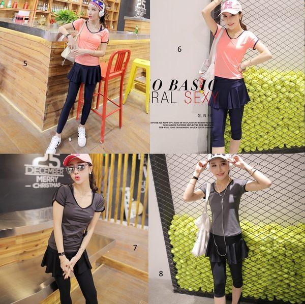 韓國春夏新款瑜伽服套裝三件套女短袖背心休閒運動跑步健身喻咖服   -cmx0013