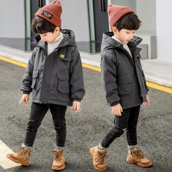 男孩羽絨外套 洋氣秋冬中長款棉衣 連帽中大童韓版外套羽絨服 加絨夾克外套兒童