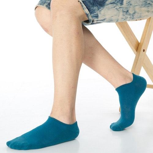 【南紡購物中心】【KEROPPA】可諾帕網狀造型男船襪x4雙C97001土耳其藍