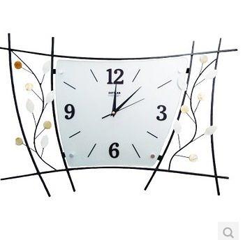 時尚裝飾掛鐘彩色花瓣藝術造型掛表鐵藝客廳靜音鐘表-set008