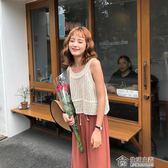 馨幫幫 新款韓版透視外穿純色寬鬆無袖鏤空針織背心上衣女夏 生活主義
