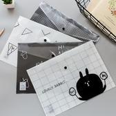 12個裝文件袋A4透明韓國小清新可愛按扣學生用防水裝試卷資料文
