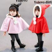 女童呢子披肩女寶寶加厚冬季新款韓版1-3歲嬰兒短款連帽冬裝外套 CY潮流站