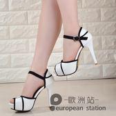 魚口涼鞋/高跟鞋細跟女夏季新款韓版百搭女鞋防水台一字扣鞋子