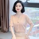 真絲上衣 真絲襯衫女時尚氣質V領短袖緞面襯衣設計感 上衣-Ballet朵朵