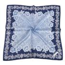 NINA RICCI蕾絲花卉圖騰絹絲綿領帕巾(藍色)989028-G