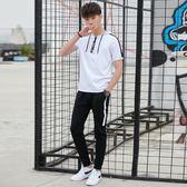 夏季薄款休閒套裝男2018新款短袖長褲運動衣服裝夏天兩件套韓版潮   mandyc衣間