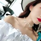 名媛氣質珍珠多層鎖骨鏈女日韓簡約chocker項圈脖子飾品短款項鏈