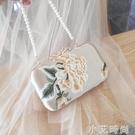 復古旗袍包古風斜挎漢服包新款珍珠手提包名媛水鑚包刺繡花朵包女 蘿莉新品