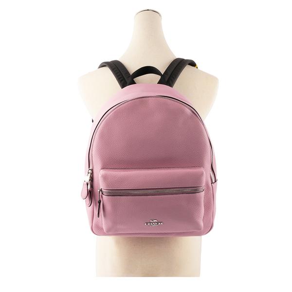 【COACH】皮革口袋後背包(中)(鬱金香粉)  F30550 SVQU