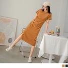 《DA8649》純色含棉造型打褶收腰開衩短袖洋裝 OrangeBear