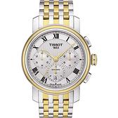 TISSOT 天梭 Bridgeport 羅馬計時機械手錶-銀x雙色版/42mm T0974272203300